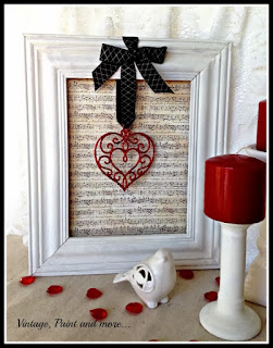 "Vintage Paint and more - diy vintage valentine wall art done with thrift store frame, ""vintage"" scrapbook paper and a Christmas ornament"