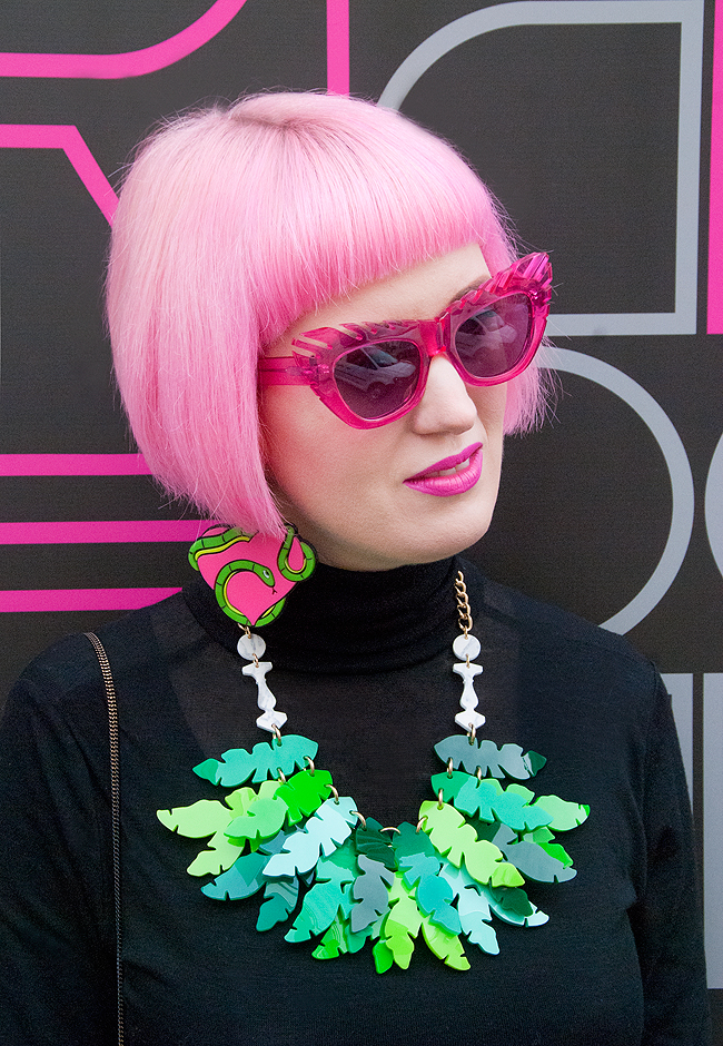 House of Holland sunnies, tropical jewellery, pink hair