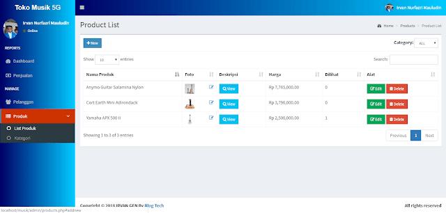 dashboard produk aplikasi toko online - #irvangen