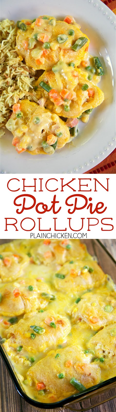 Chicken Pot Pie Rollups - heaven in a pan! SOOO good! EVERYONE loved this casserole. Chicken, cream cheese, cheddar cheese, crescent rolls, cream of chicken soup, milk and frozen mixed vegetables. Ready in 30 minutes!! Great weeknight casserole recipe.