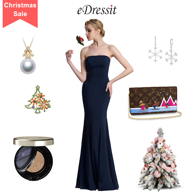 Dark Blue Strapless Evening Dress