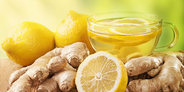 ginger tea with lemon, clear and bright skin, 3 drinks, beauty