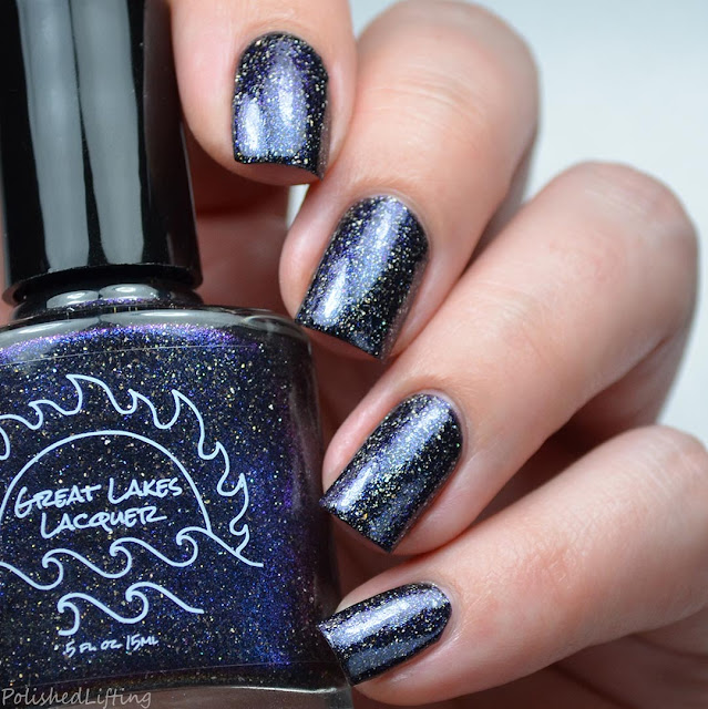 black nail polish with holo flake