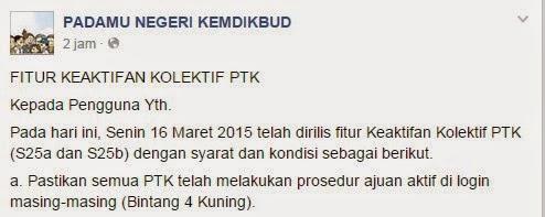 Info resmi dan terbaru dari Admin Pusat bahwa Syarat Keaktifan Kolektif PTK ( Cetak S25a dan S25b ) ; Login  Akun Kepala Sekolah Padamu Negeri