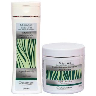 Kit shampoo e máscara capilar hidratante de algas marinhas crescenew
