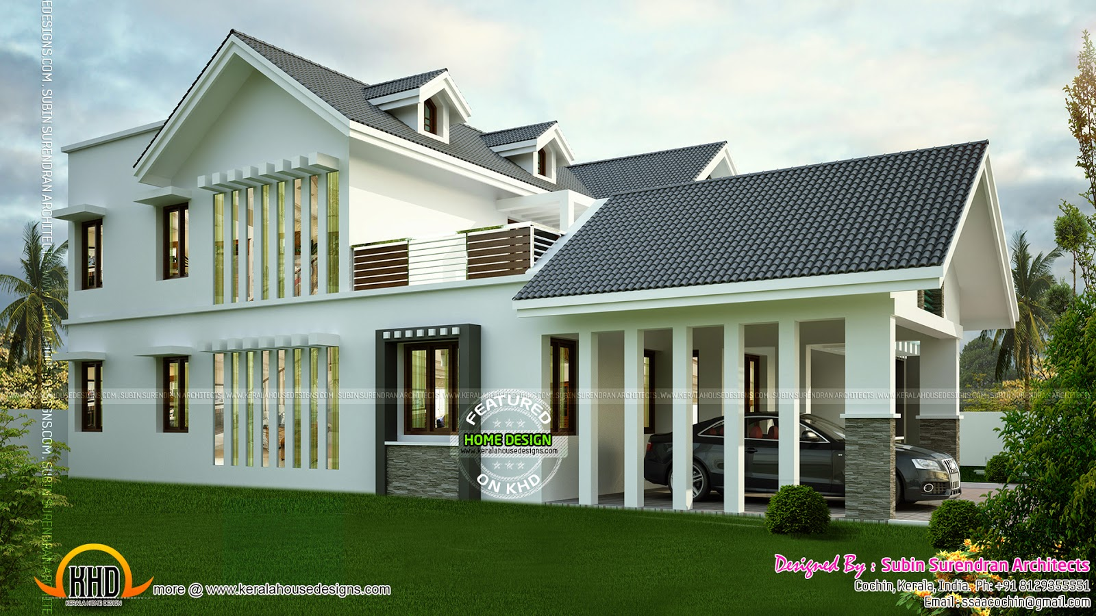 Modern sloping roof house with dormer windows kerala for Side sloping house designs