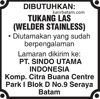 Lowongan Kerja PT. Sindo Utama Indonesia