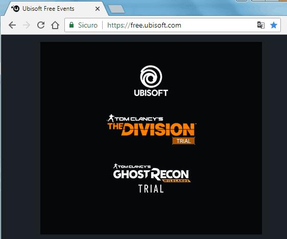 Sezione Free Ubisoft del sito Ubisoft