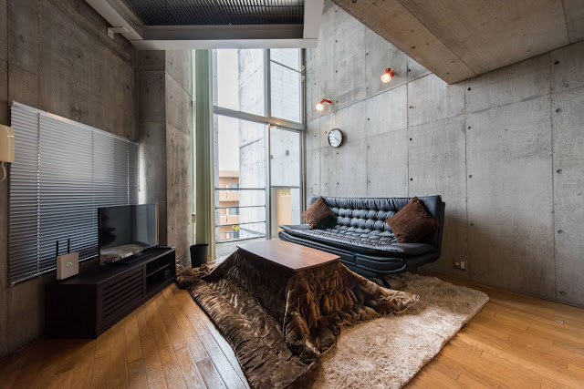 concrete maisontette on airbnb located in tokyo japan