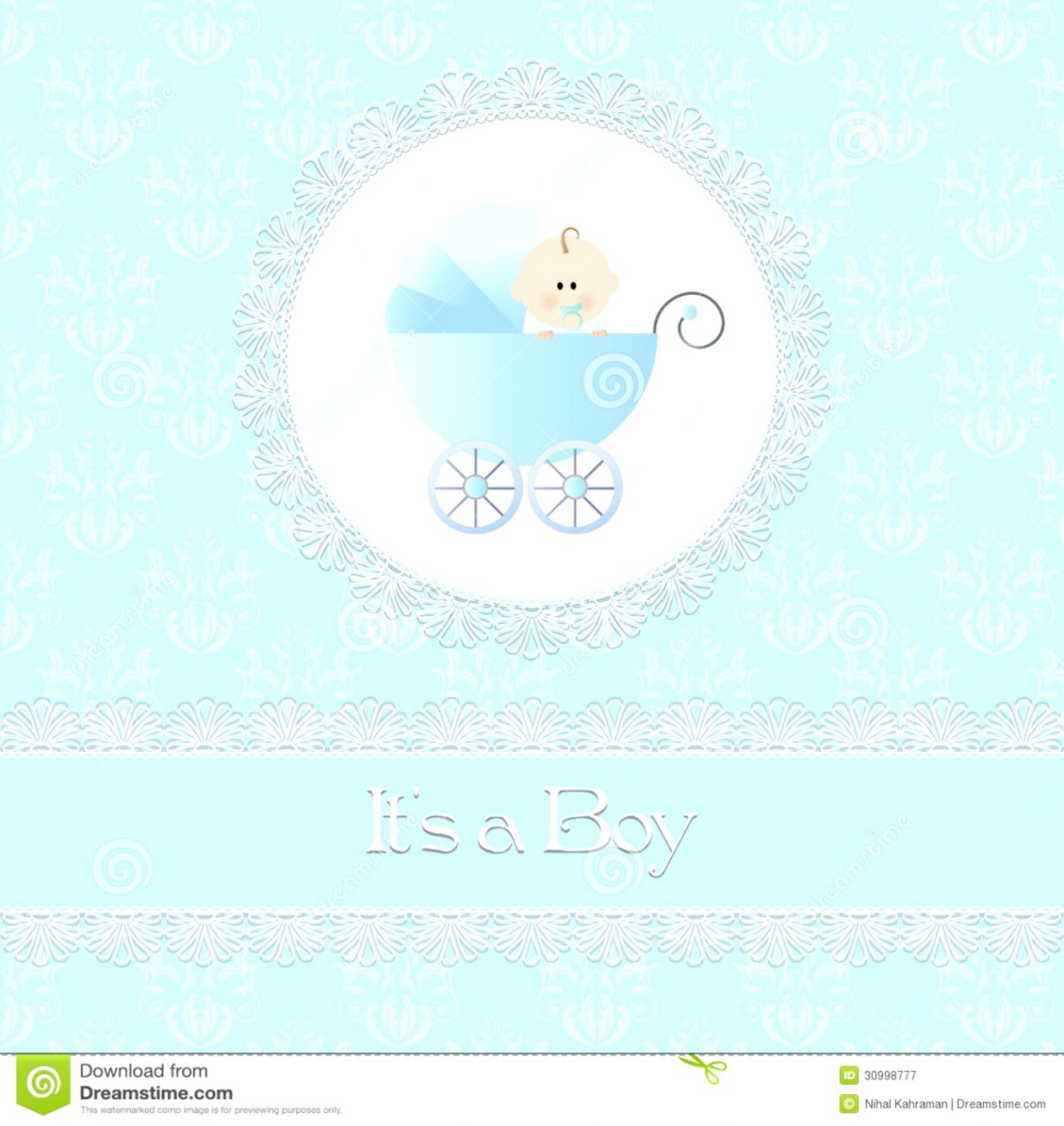 View Original Size Baby Shower Card For Boy With Stroller And