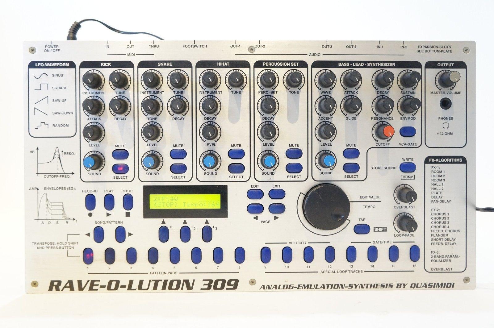 matrixsynth quasimidi rave o lution 309 synthesizer drum machine sn 41641. Black Bedroom Furniture Sets. Home Design Ideas