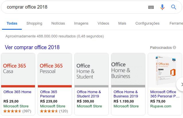 comprar office 2018