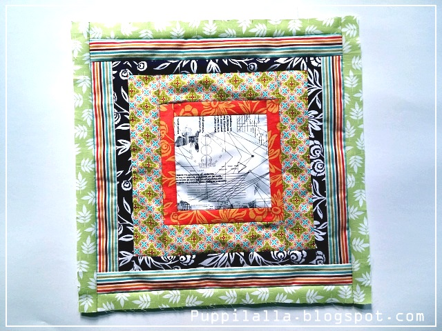 Puppilalla, Bee block, Stash Bee, Scrappy string block, quilting, patchwork