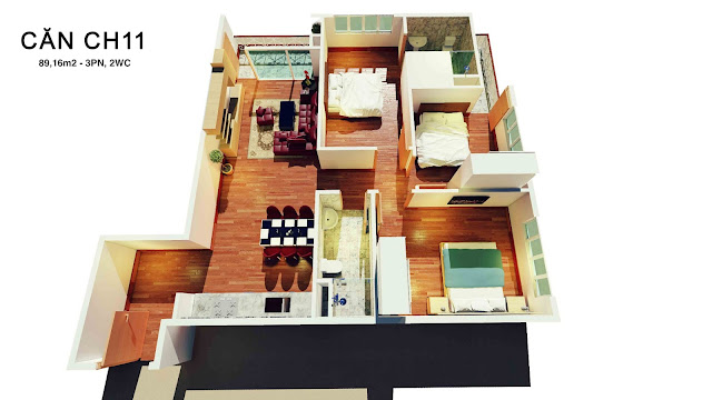 Thiết kế căn hộ số 11 tháp doanh nhân