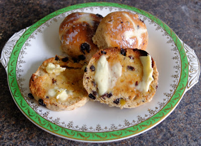 A plate of home made hot cross buns