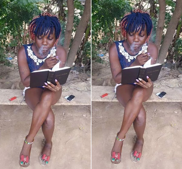 Adorable photo of Naija girl reading word of God while going on weed goes viral