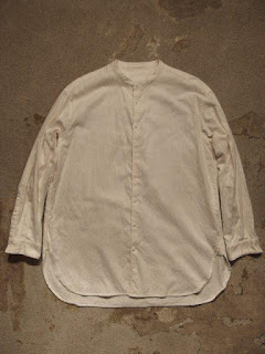 "TOUJOURS ""Over Sized Band Collar Shirt-Brushed Cotton Flannel Twill Cloth"""