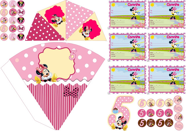 Minnie Cumple 5 Años: Mini Kit para Imprimir Gratis.