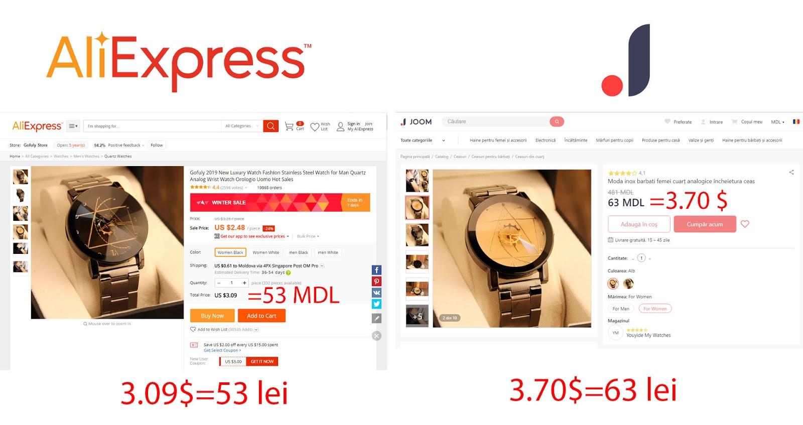 Ce este mai bun Aliexpress sau Joom. Cum să aleg un produs bun de pe Joom. Aliexpress cu livrare în Moldova