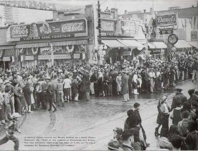 Here's a great photo of a Tucson crowd waiting for the arrival of the Rodeo  Parade. This is at the corner of Stone and Congress, northeast corner.