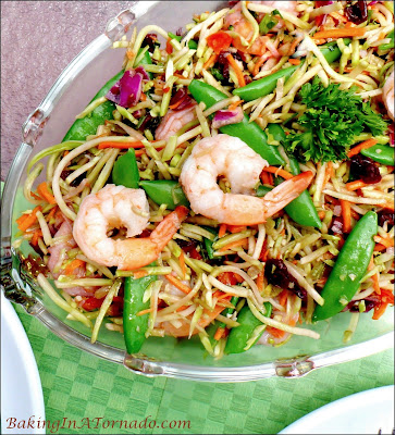 Raspberry Broccoli Salad with Shrimp is a light, cold lunch or dinner perfect for a hot summer day. | Recipe developed by www.BakingInATornado.com | #recipe #lunch #dinner