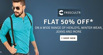 Freecultr Men's Clothing: Flat 50% Off on Jeans, Henley, Winter Wears @ Flipkart (Valid for Today Only)