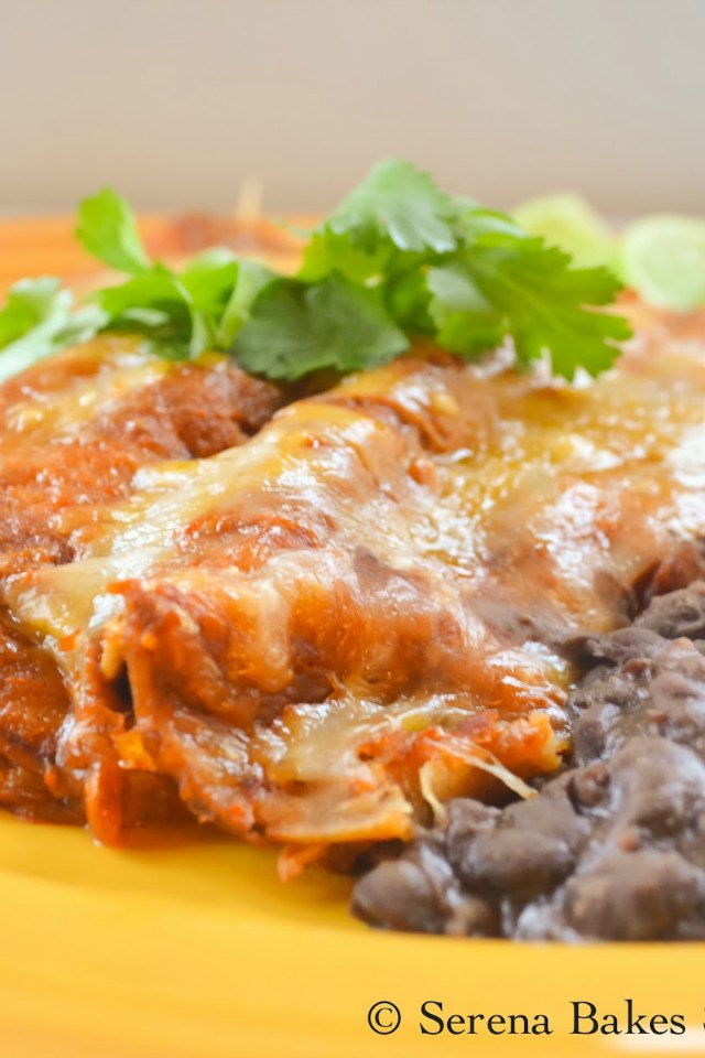 Chicken Enchiladas in Homemade Red Enchilada Sauce from Serena Bakes Simply From Scratch.