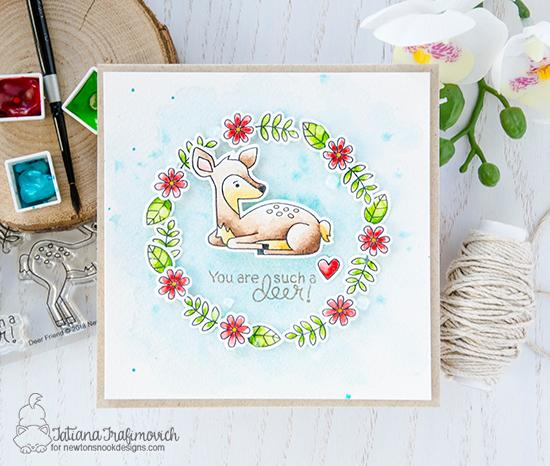 A Delightful Duo of Cards by Tatiana Trafimovich | Deer Friend Stamp Set by Newton's Nook Designs #newtonsnook #handmade