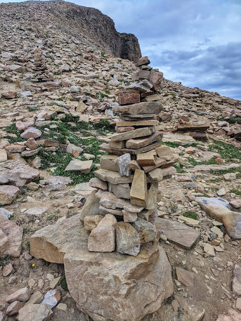Cairn on Bald Mountain Hike by Mirror Lake in Uintas Kamas, Utah