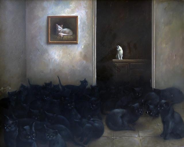 Alberto Pancorbo arte moderno hiperrealista surrealista gato blanco y negro ideas