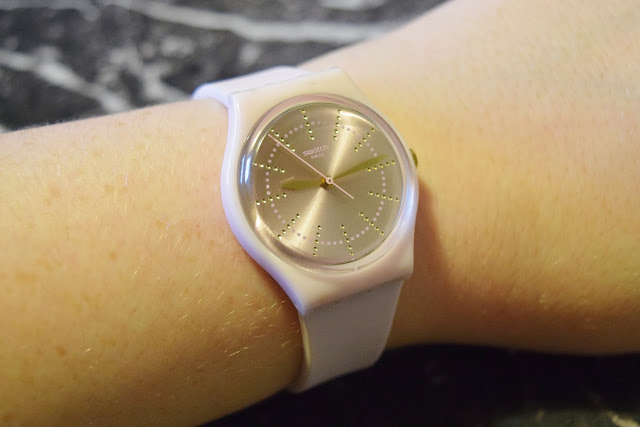 pink Swatch watch