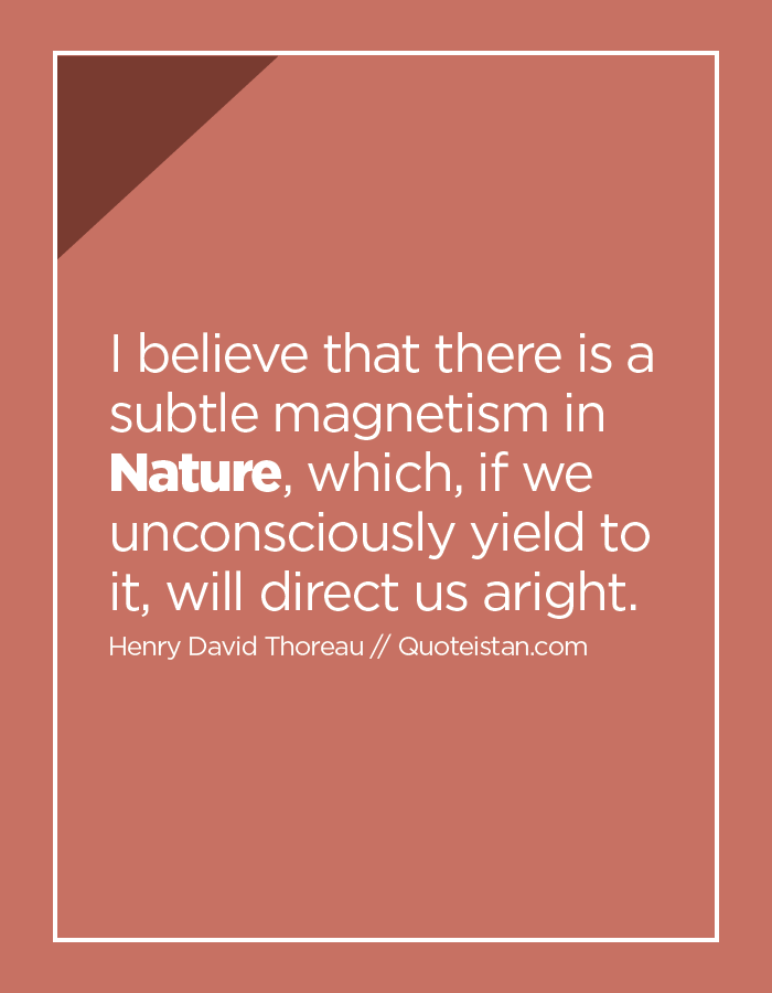 I believe that there is a subtle magnetism in Nature, which, if we unconsciously yield to it, will direct us aright.