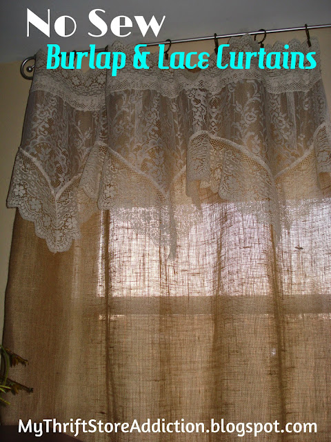 No Sew burlap and lace curtains