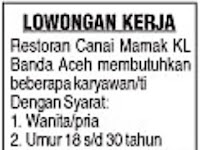 Lowongan Kerja Restoran Canai Mamak KL Banda Aceh