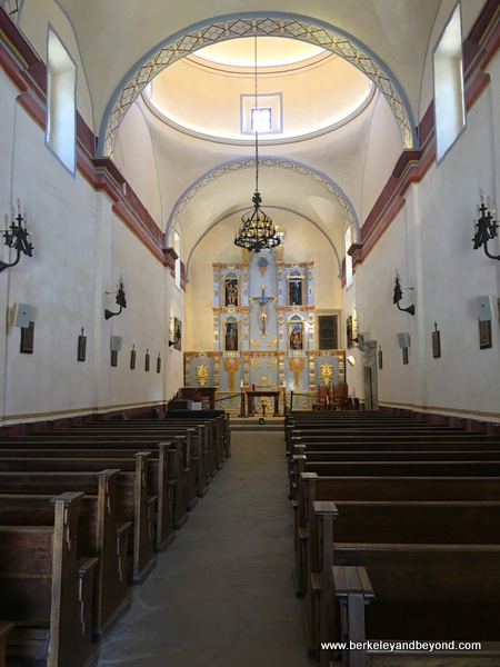 interior of church at Mission San Jose in San Antonio Missions National Historical Park in San Antonio, Texas