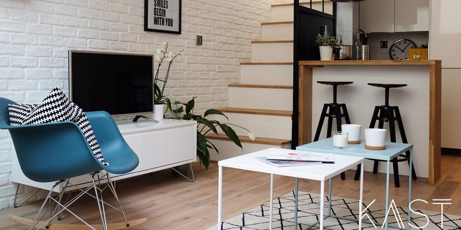 Mały apartament w stylu loftowym - wystrój wnętrz, wnętrza, urządzanie mieszkania, dom, home decor, dekoracje, aranżacje, styl loftowy, loft, styl industrialny, małe wnętrza, kawalerka, małe mieszkanie, otwarta przestrzeń, salon, living room, kuchnia, kitchen