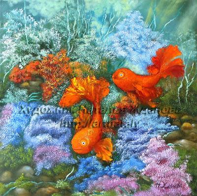 Картина маслом Две золотые рыбки талисман любви и счастья