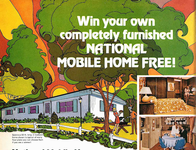 1972 illustration, National Mobile Home advertisement, sun