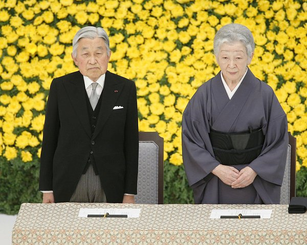 Emperor Akihito and Empress Michiko at a memorial service for war victims at the Nippon Budokan