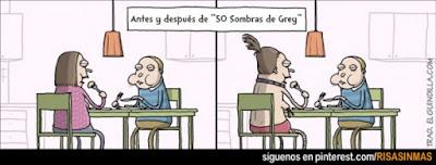 Meme de humor sobre la influencia del libro 50 sombras de Grey