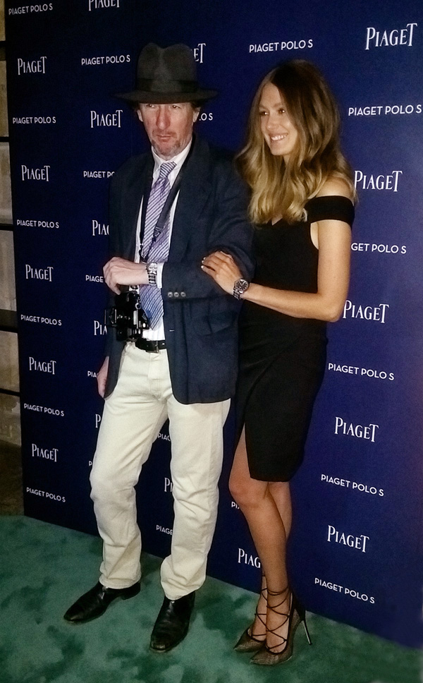 Kent with Polo S and model at the media wall. Piaget Polo S Watch Launch - Beta Bar Sydney - Photographed by Kent Johnson for Street Fashion Sydney.