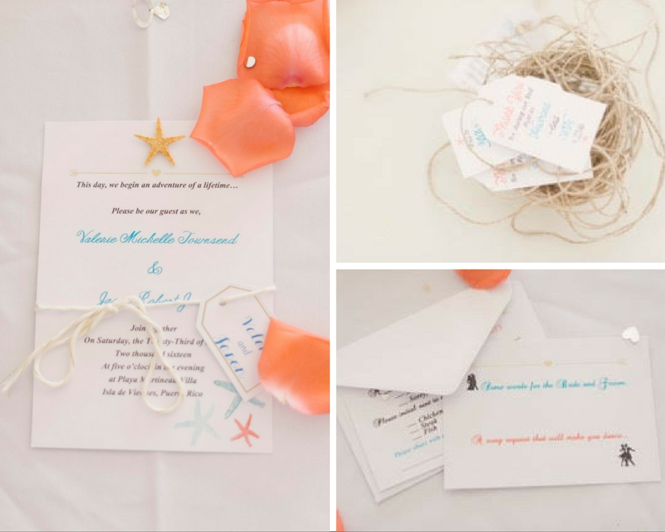 montage of tropical wedding inviations