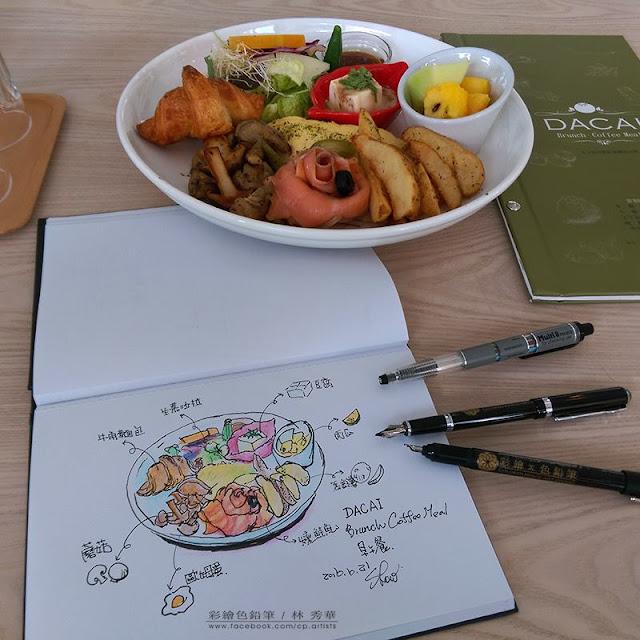 用鋼筆和色鉛筆來個早午餐的速寫