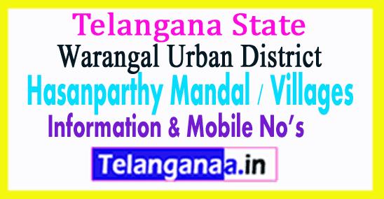 Hasanparthy Mandal Villages in Warangal Urban District Telangana