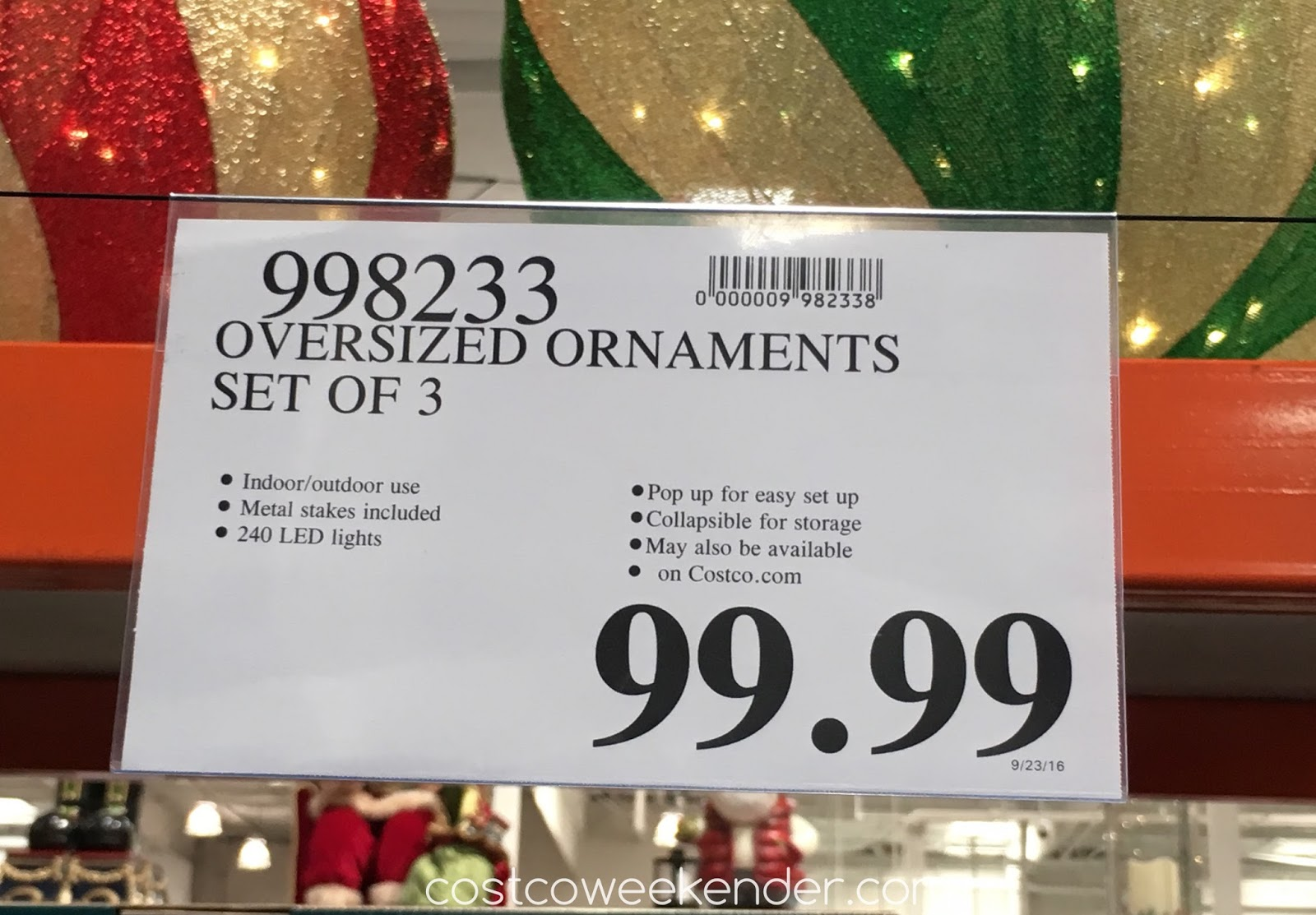 Deal for the Set of 3 Oversized LED Ornaments at Costco