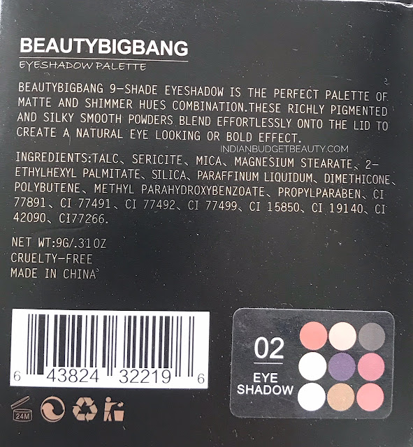 Beauty Big Bang 9 Colors Matte Eyeshadow Palette Earth Tone Naked Shimmer Pigment Glitter Eye Shadow (02) ingredients