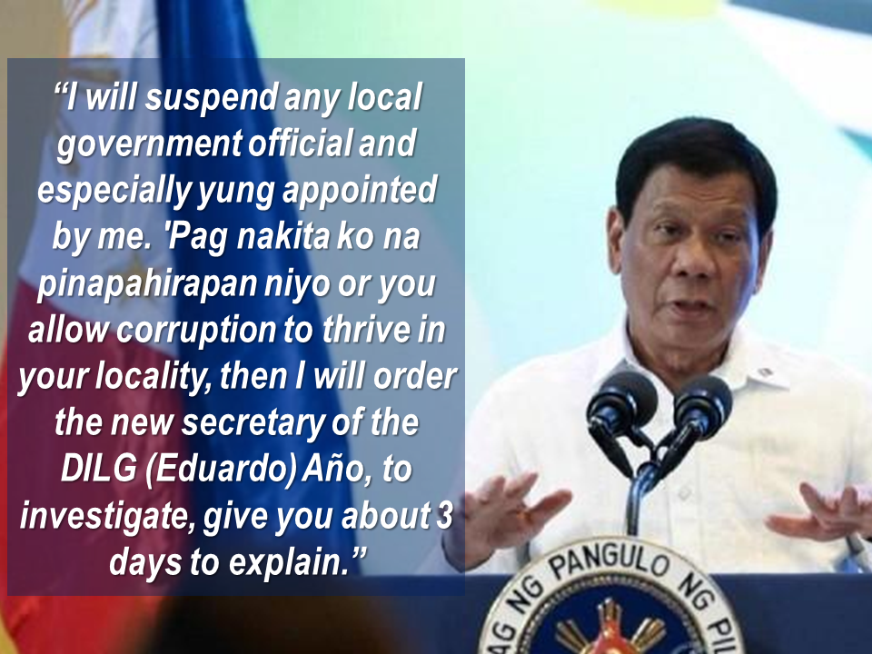 During His arrival speech at the NAIA from APEC summit in Vietnam, President Rodrigo Duterte warned that he will fire corrupt government officials who withhold  micro, small and medium enterprises (MSMEs) issuance of business permits . Advertisements   President Duterte is known to dislike corruption in the government that causes the business permits to move slow. The thing that hinders Filipinos to do business is that the requirements on business permits and the slow pace in releasing it does not make the Philippines a business-friendly country   President Duterte said that the growth of the economy is being hindered by corrupt local executives and cabinet members by delaying the issuance of business permits for MSMEs.  Last month, President Duterte signed an executive order creating the Presidential Anti-Corruption Commission to get rid  of corrupt public officials.   Sponsored Links     Executive Order No. 43 creates a commission to directly assist the President in investigating and/or hearing administrative cases  involving graft and corruption cases against all presidential appointees. Source : ABS-CBN News Advertisement Read More:     ©2017 THOUGHTSKOTO