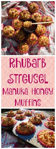 www.foodiequine.co.uk The tartness of Rhubarb is combined with Manuka Honey in these fruity oaty muffins which are free of refined sugar but packed with taste and goodness. A crunchy streusel topping finishes them off to perfection.