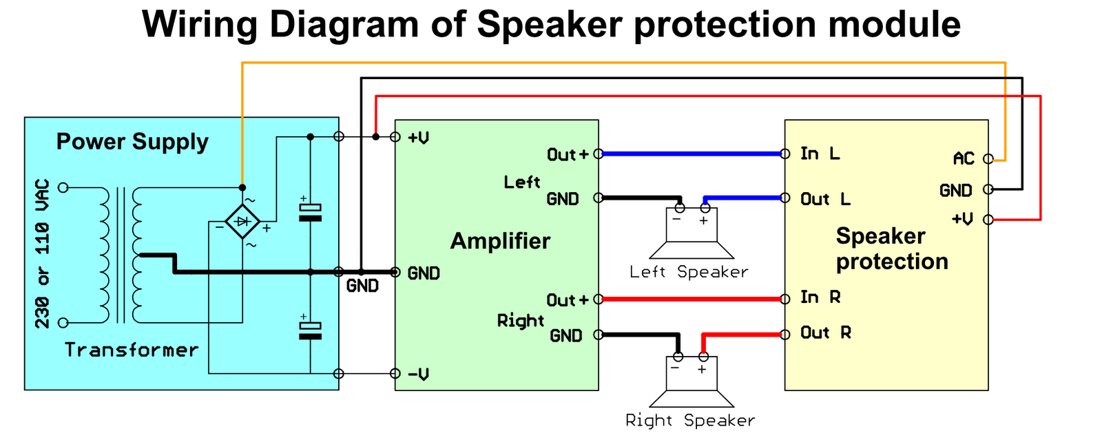 Diyfan Speaker Protection With Upc1237 Loudspeaker Wiring Diagram Bellow Is A How To Connect Module An Amplifier
