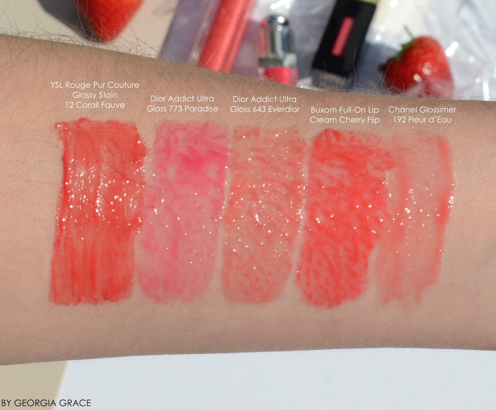 5 Juicy Coral Lipglosses For Spring By Georgia Grace